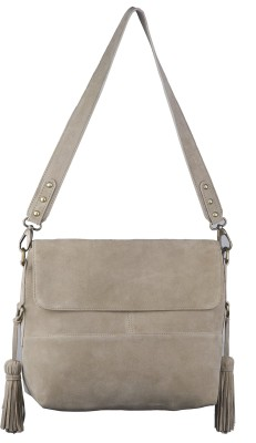 Neon By Paint Women Casual Beige Genuine Leather Sling Bag