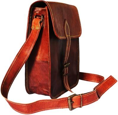 Goatter Men, Girls, Women Brown Genuine Leather Sling Bag
