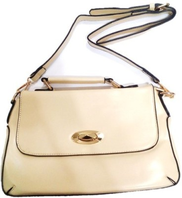 Divine Collection Girls Beige Leatherette Sling Bag