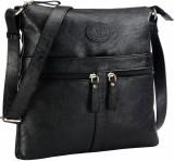 Contrast Women Black PU Sling Bag