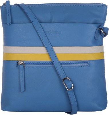Traversys Girls Casual Blue Genuine Leather Sling Bag
