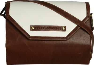 Craft Concepts Women Casual Brown Genuine Leather Sling Bag