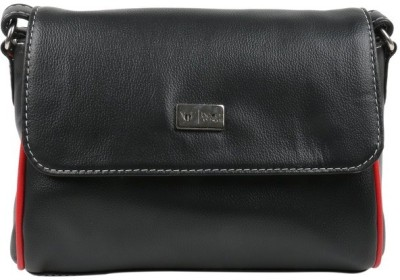 Beau Design Women Black PU Sling Bag