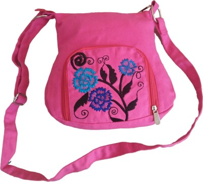 Fly Angels Women Pink Canvas Sling Bag
