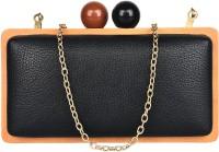 BLUR Women Black, Brown, Black, Gold Leatherette Sling Bag