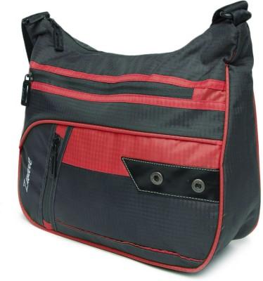 Zwart Men, Women Casual Grey, Red Polyester Sling Bag