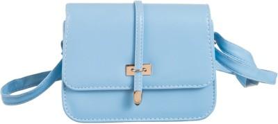 Peaubella Girls Blue Leatherette Sling Bag