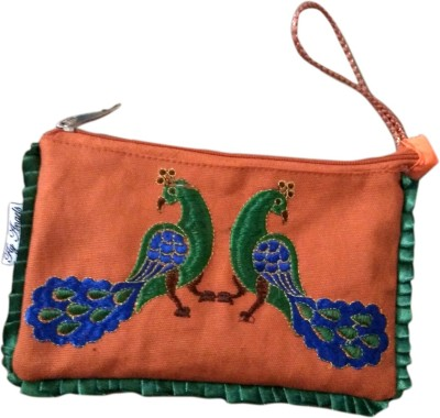 Fly Angels Women Orange Canvas Clutch