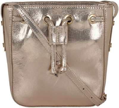 Berrypeckers Women Gold PU Sling Bag