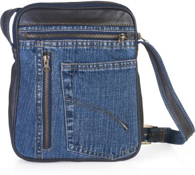 Hibiscus Women Casual Blue, Brown Denim, Genuine Leather Sling Bag