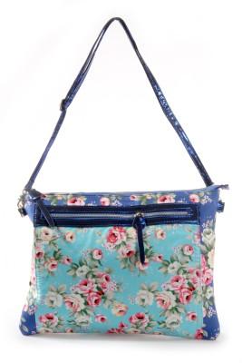 Harp Women Casual Blue Leatherette Sling Bag