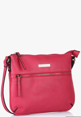 Done By None Women Casual Pink Polyester Sling Bag