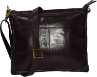 pellezzari Girls Brown Genuine Leather Sling Bag