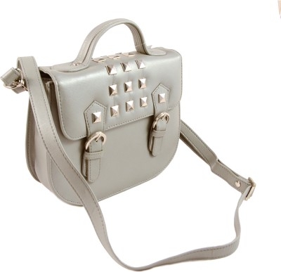 Claude Lorrain Women Casual, Evening/Party, Formal, Sports Silver Genuine Leather Sling Bag