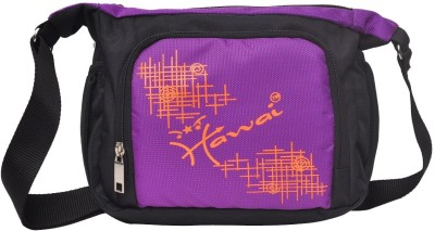 Hawai Men, Women Purple, Black Polyester Sling Bag