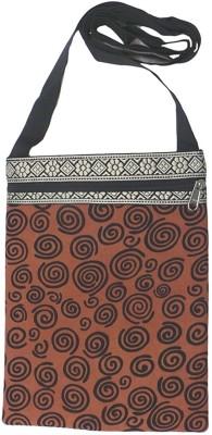 Bhamini Women Brown Cotton Sling Bag