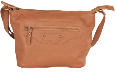 LeCobbs Women Casual Tan Genuine Leather Sling Bag