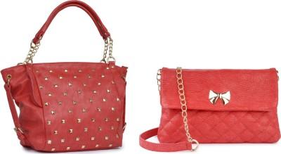 Lychee Bags Women Red PU Satchel