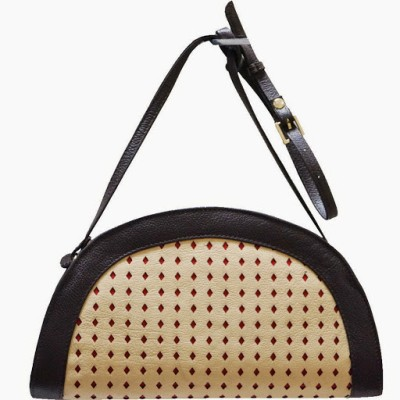 Jeane Sophie Women Casual, Evening/Party Beige Genuine Leather Sling Bag