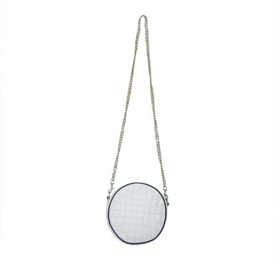 Indostyle Women Evening/Party White Genuine Leather Sling Bag