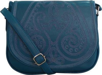 Toteteca Bag Works Women Blue Leatherette Sling Bag