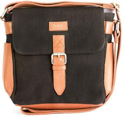 Taws Women Formal Black Canvas Sling Bag