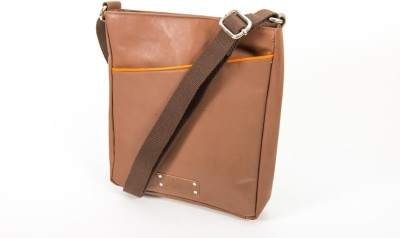 Quero Women Casual Brown Genuine Leather Sling Bag