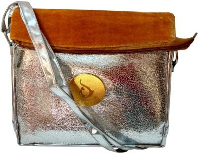 Lasslee Girls Silver Velvet Sling Bag