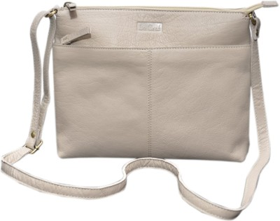 Le Craf Girls Casual White Genuine Leather Sling Bag