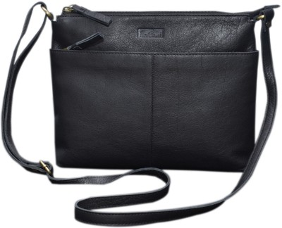 Le Craf Girls Casual Black Genuine Leather Sling Bag
