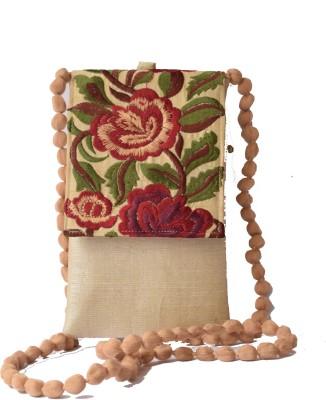 Mahadev Exports Women Beige Silk Sling Bag