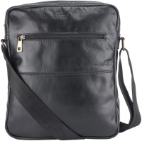 Gekko Men & Women Black Genuine Leather Sling Bag
