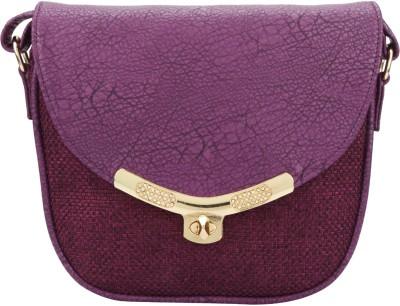 The Peacock Craft Women Purple Jute Sling Bag