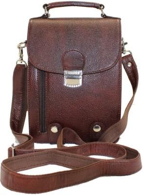 American-Elm Men Casual Brown Genuine Leather Sling Bag