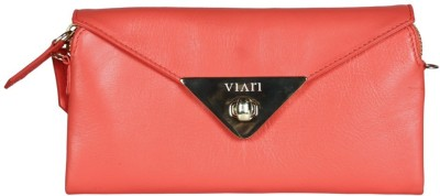 Viari Women Evening/Party Pink Genuine Leather Sling Bag