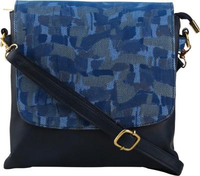 Quality Creators Women Blue PU Sling Bag