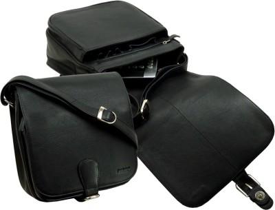 LandLeder Boys Black Genuine Leather Sling Bag