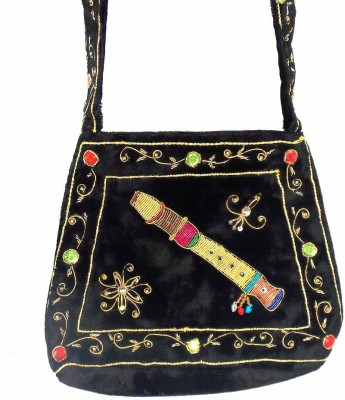 Himalaya Handicraft Women Black Polyester Shoulder Bag