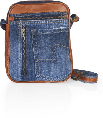 Hibiscus Women Casual Orange, Blue Denim, Genuine Leather Sling Bag