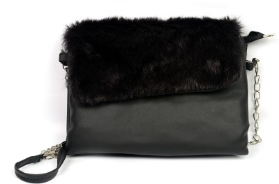 lasslee Women Black PU Sling Bag