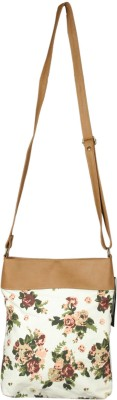 Tessa Moda Women Beige Canvas Sling Bag