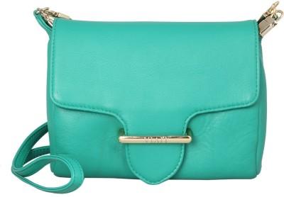 Viari Women Casual Green Genuine Leather Sling Bag