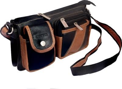 Rivory Bros Men, Women Black, Brown Genuine Leather Sling Bag