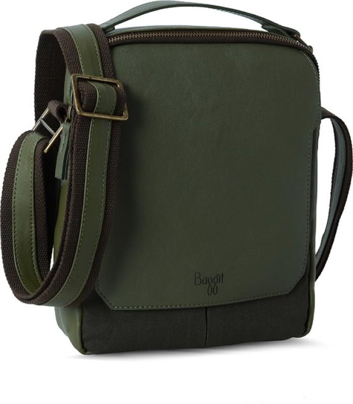 Baggit Men Green Leatherette Sling Bag