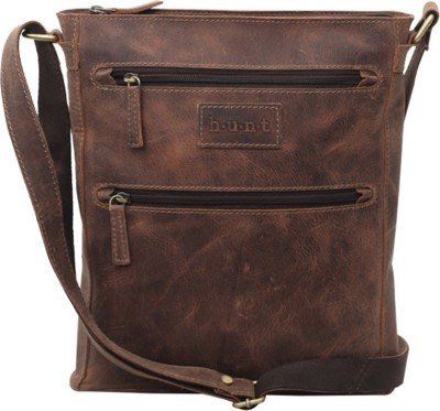 Hunt Men Casual Tan Genuine Leather Sling Bag