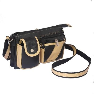 Rivory Bros Men, Women Black, Beige Genuine Leather Sling Bag
