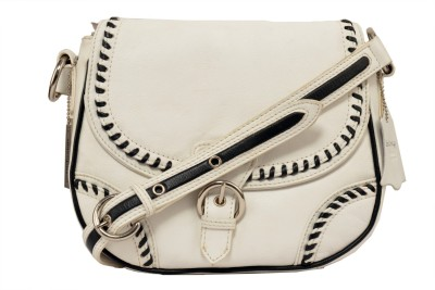 Indostyle Girls Casual White Genuine Leather Sling Bag