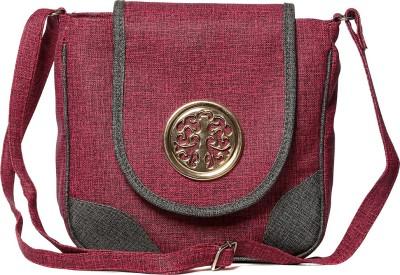 PENTAFIVE Women Purple Leatherette Sling Bag