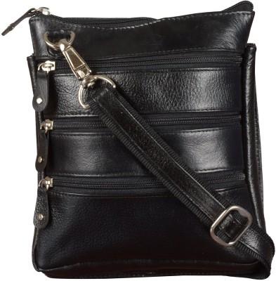 Bluwhale Men, Women Casual, Formal, Evening/Party Black Genuine Leather Sling Bag