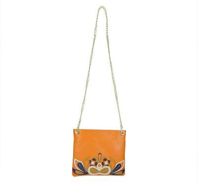 Indostyle Women Evening/Party Orange Genuine Leather Sling Bag